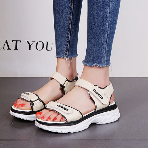 Athletic Style Open Toe Magic Tape Sandals