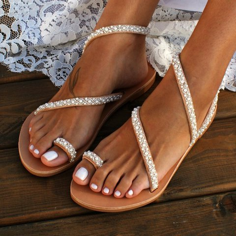 Summer Women Sandals Gladiator Flat Sandals Pearl Flip