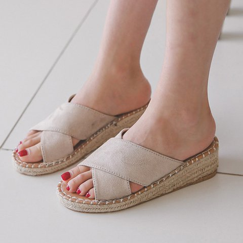 Women Peep Toe Slip-On Wedge Heel Crossed Sandals