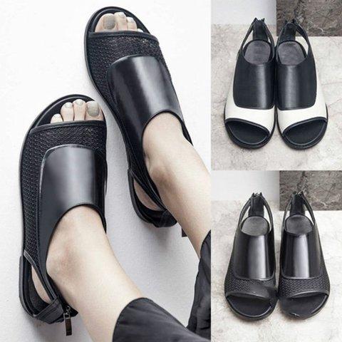 Women's Casual Back Zipper Peep Toe Summer Sandals