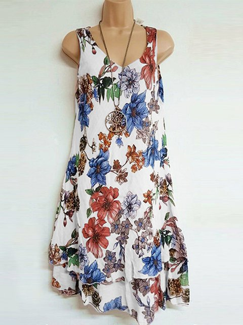 Casual Floral Printed Crew Neck Plus Size Vest