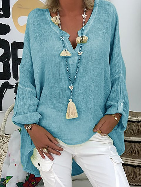 Women Plus Size Paneled Buttoned Solid Casual Cotton Blouses