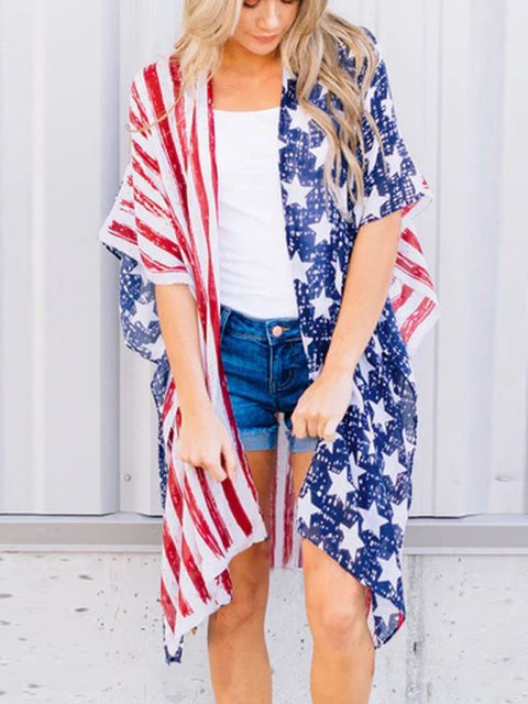 Independence Day Printed Split Jacket Top
