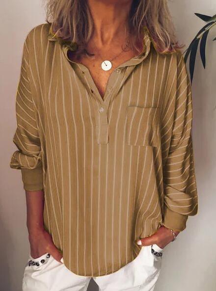 Striped Long Sleeve Turn-Down Collar Shirts & Tops