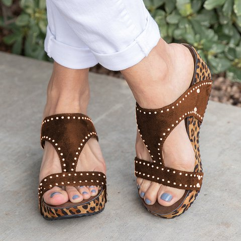 Wedge Leopard Slide Sandals
