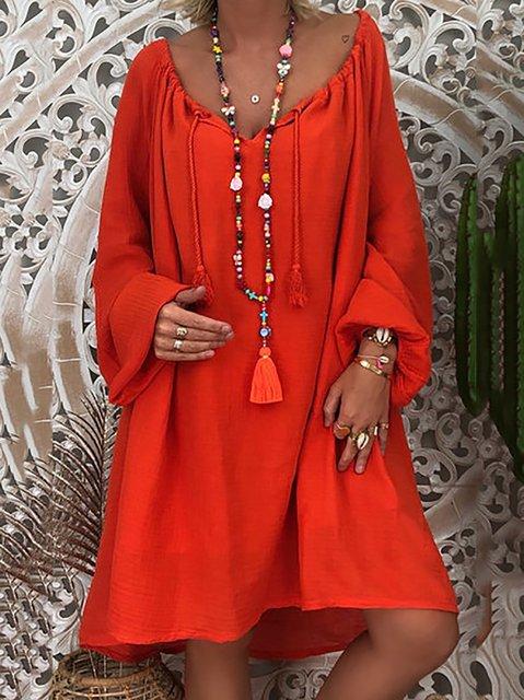 Women Daytime Long Sleeve Solid Dresses