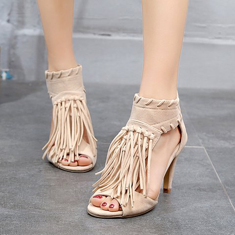 Women's Sexy Peep Toe Back Zipper Tassel Heels