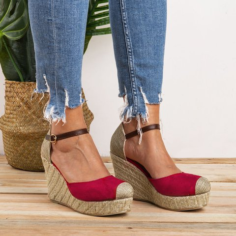 Women Ankle Strap Espadrilles Wedges Plus Sizes