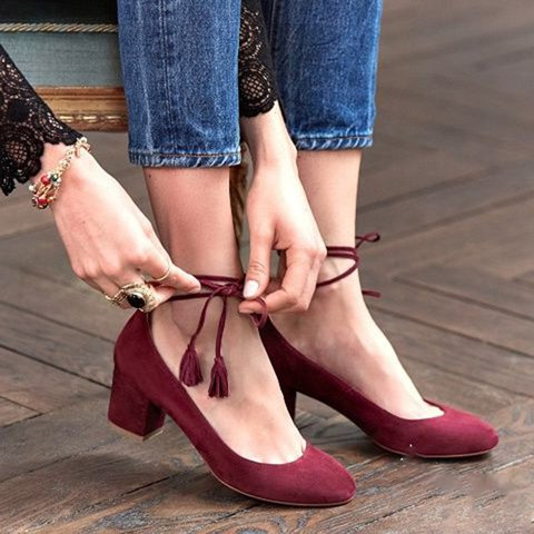 Daily Summer Chunky Heel Lace-up Sandals