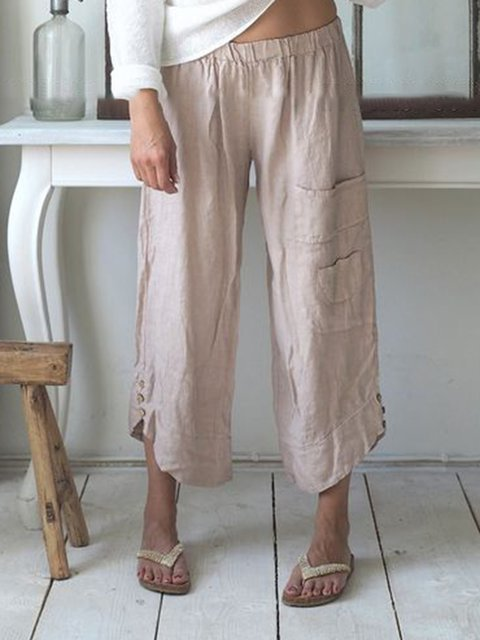 Summer Pockets Buttoned Elastic Waist Stylish Daily Casual Capri Pants