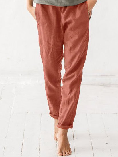 Solid Cotton-Blend Women Pants
