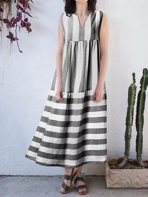 Women Summer Striped Sleeveless Maxi Dresses