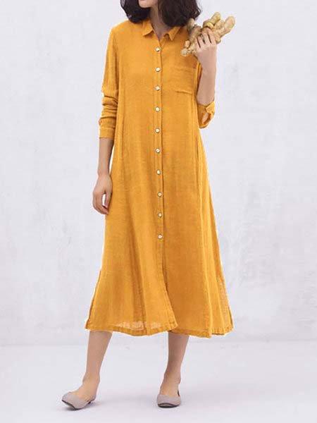 Shirt Collar Women Casual Dresses Shift Casual Plain Dresses