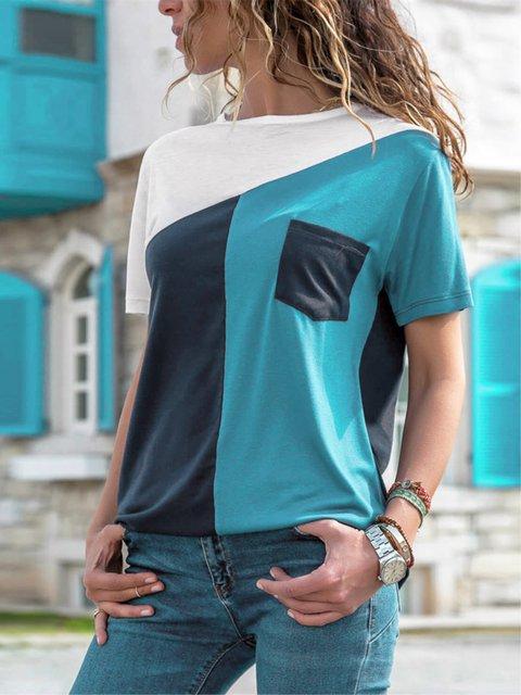 Casual Short Sleeve Color-block Pockets Crew Neck Shirt