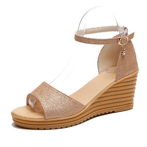 Women Summer Casual High Heel Buckle Sandals