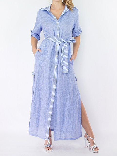 Shirt Collar Women Dresses Going Out Cotton Stripes Dresses