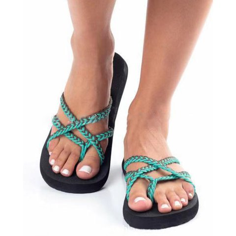 Casual Woven Mesh Slip-On Open Toe Beach Sandals