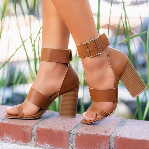 Women's Sexy Peep Toe Chunky Heel Buckle Strap Heels