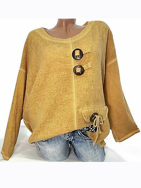 Women Casual Long Sleeve Buttoned Blouses