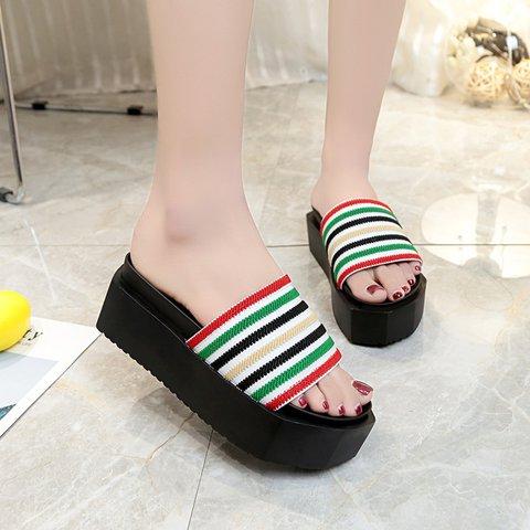 Color-block Stripes Elastic Wedge Heel Creeper Sandals