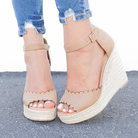 Women Nubuck Wedge Sandals Plus Size Adjustable Buckle Shoes