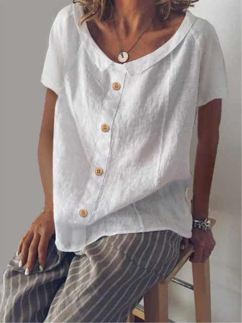 Buttoned Casual Turn-down Collar Short Sleeve Blouse