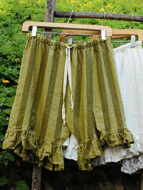 Folds Lace Up Elastic Waistband Shorts Stripe Linen Bloomers Pants