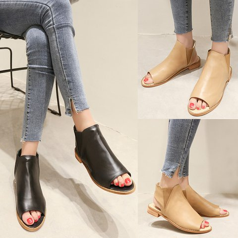 Women's Casual Low Heel Peep Toe Slip-On Sandals