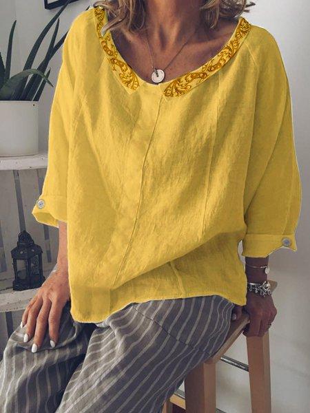 Casual Peter Pan Collar Buttoned Cotton-Blend Shirts & Tops