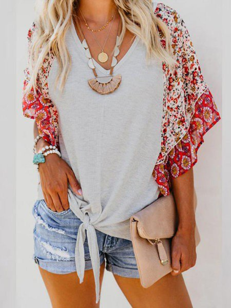 Floral V-Neck Casual Half Sleeve 2019 Summer T-Shirts