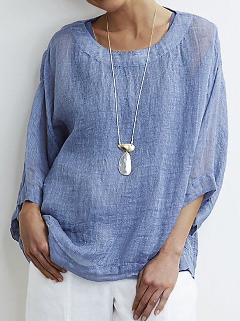 3/4 Sleeve Casual Crew Neck Shirts