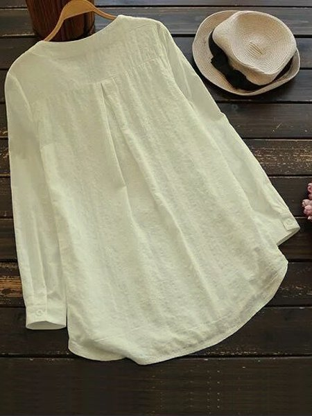 Shawl Collar White Shift Women Daily Casual Cotton Paneled Floral Casual Dress