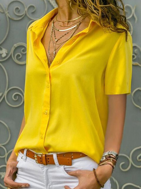 Buttoned Plus Size Solid Short Sleeve Summer Shirts