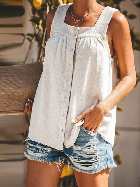 Women Buttoned Solid Casual Cotton Tanks