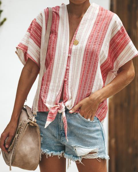 Stripes Long Sleeve Blouse Casual Shirt