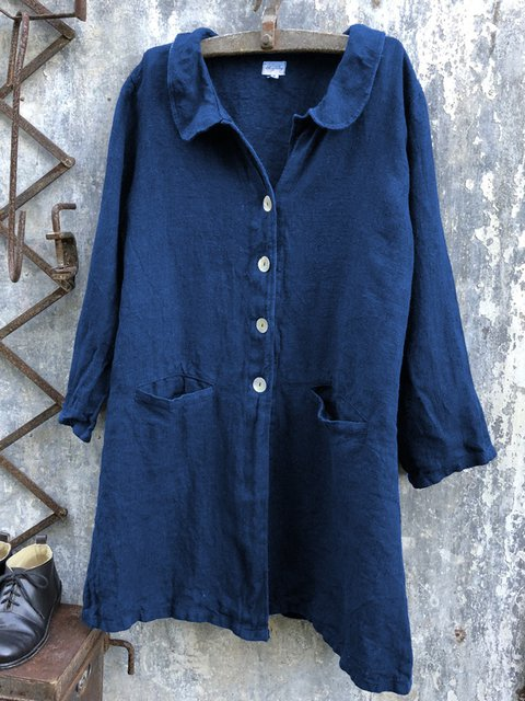 Spring/Summer Pockets Buttoned Long Sleeves Solid Casual Shirts
