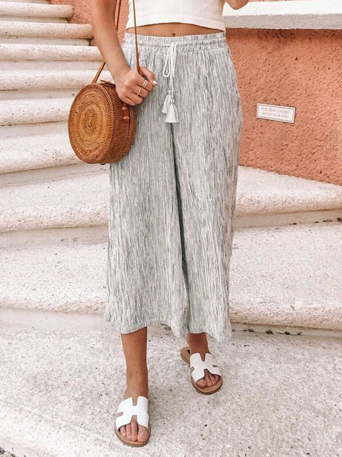 Natural Plus Size Linen Drawcord Loose Pants