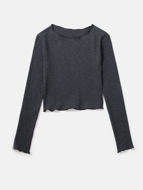 Women Shirts Plain Casual Crew Neck Knitted Shirts