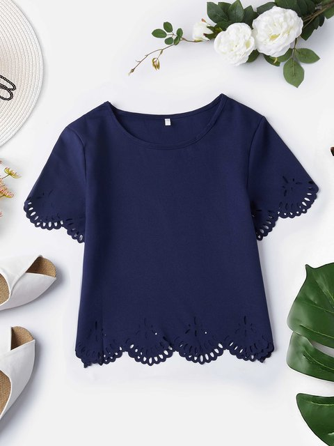 Laser Cut Plain Crew Neck Casual Short Sleeve Blouses