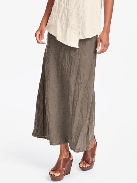 Cotton Maxi Skirt Casual Plain Skirts