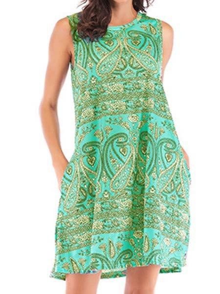 Green Sleeveless Pockets Women Summer Dresses