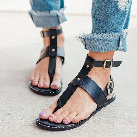Vintage Flip Flop T-Strap Snake Flat Double Ankle Sandals