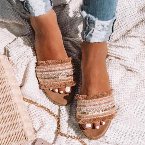 Boho Slide Sandals Slip-On Flat Heel Summer Shoes