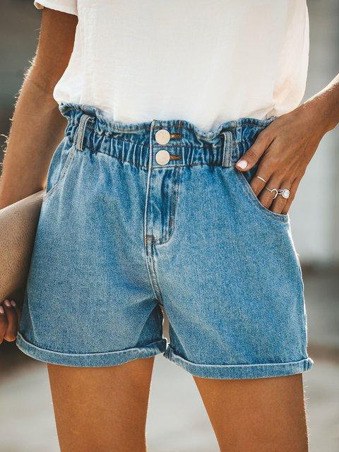 Summer Pockets Button Elastic Waist Casual Denim Shorts