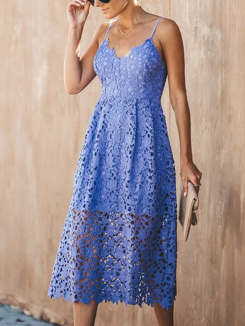 Summer V Neck Lined Hollow-out Spaghetti Dresses