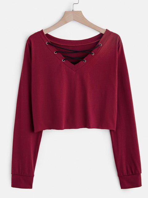 Women Shirts Cotton Plain Casual V Neck Shirts