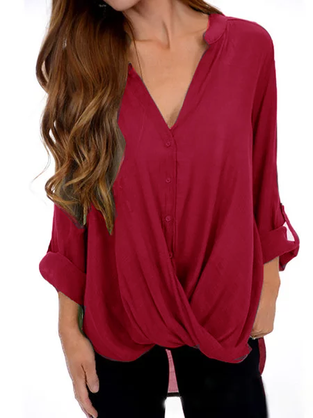 Casual Buttoned Long Sleeve V neck Plus Size Solid  Blouse