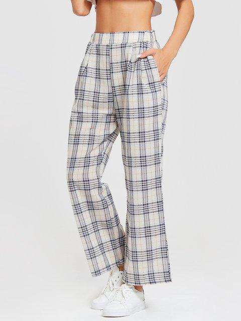 Plaid White Paneled Casual Pants