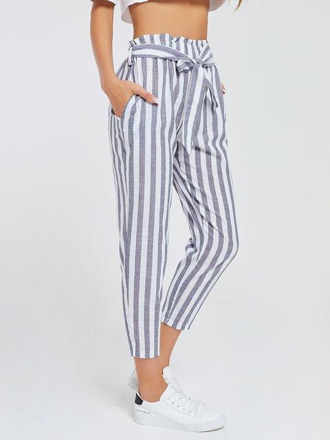 Women Stripes Pants Blue Casual Stripes Printed Pants