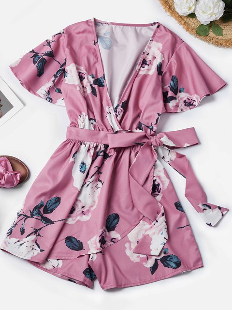 Floral-print Bow Pink Sexy One-Pieces